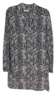 Equipment Silk Snakeskin Print Blue Pockets Dress