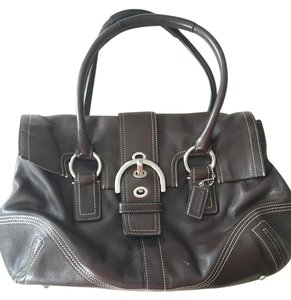 Coach Leather Silver Hardware Large Flap Satchel in Brown