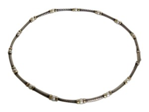 David Yurman David Yurman Pearl and Gold Accent Cable Necklace