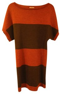 Lands' End short dress Burnt Orange and Heather Stripe Boatneck Merino on Tradesy