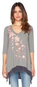 Johnny Was Embroidered V-neck 3/4 Sleeves High Low Hem Tunic