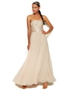 Xscape Beaded Lace-up Strapless Nude Formal Dress