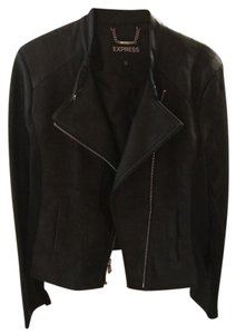 Express Black faux leather and dark grey Leather Jacket