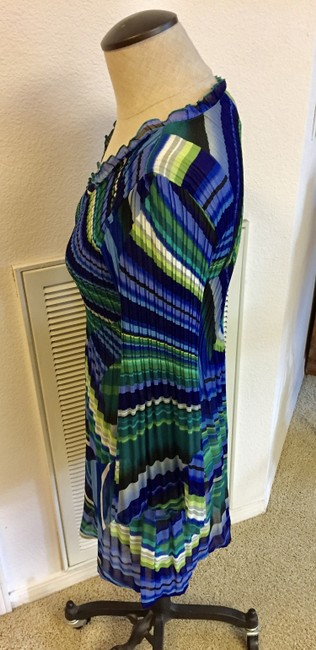 Allison Taylor Crinkle Longsleeve Blue Top Multi-Color