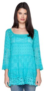 Johnny Was Eyelet Bell Sleeves Tiered 3/4 Sleeves Ruffle Tunic