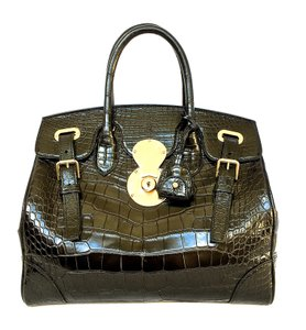 Ralph Lauren Ricky Alligator Gold Satchel in Black