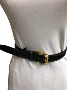 Brighton Brighton Brown Embossed Calfskin Leather Belt with Gold Buckle