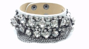 Elle Cross Sophisticated Wide Metallic Pewter Leather Crystal Cuff Bracelet 7-8