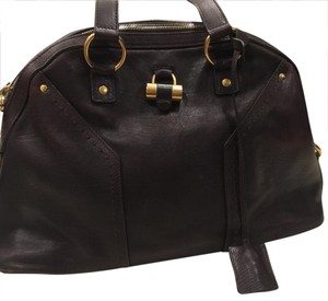 Saint Laurent Satchel in Chocolate Brown with Gold Hardeware
