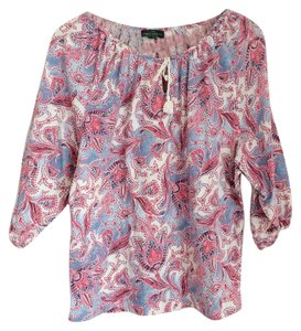 Ralph Lauren Top Pink paisley peasant top