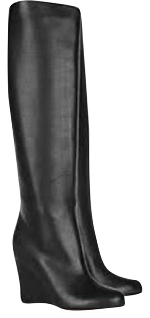 Christian Louboutin Black Zepita Leather Tall Knee High Wedge Boots/Booties Size EU 36 (Approx. US 6) Regular (M, B) Christian Louboutin Black Zepita Leather Tall Knee High Wedge Boots/Booties Size EU 36 (Approx. US 6) Regular (M, B) Image 1