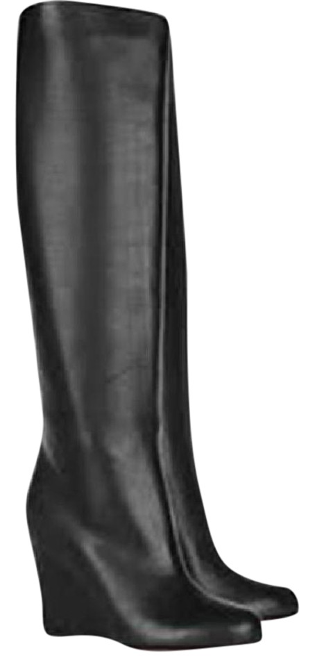 Christian Louboutin Black Zepita Leather Tall Knee High Wedge Boots Booties 2fd789b38ac8