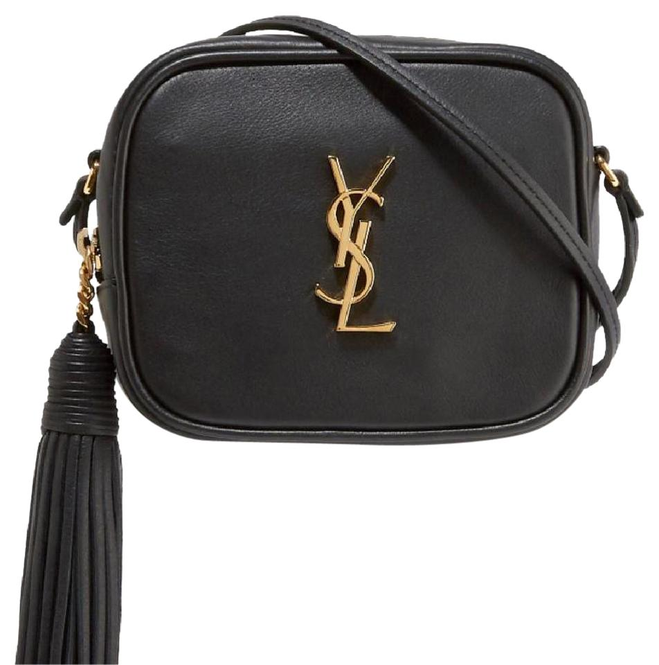 1a0b060b4a4e Saint Laurent Monogram Blogger Ysl Goldtone Black Leather Cross Body ...