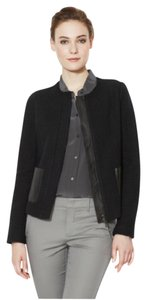 Vince Leather Jacket Tweed Black Blazer