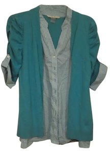 Peter Nygard Checkered Button Down Shirt Teal