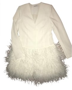 Elizabeth and James Iridescent Feather Hem White Blazer