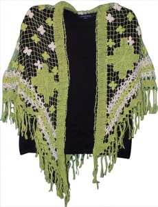 Lucky Brand Crochet Embellished Woven Eclectic Bohemian Cape