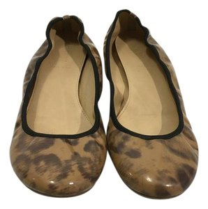 J.Crew Padded Insoles Made Italy Brown black tortoiseshell patent leather leopard pattern ballet Flats