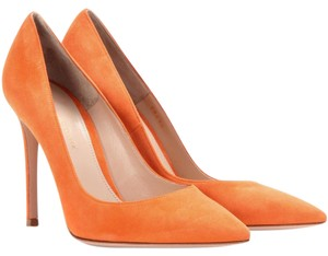 Gianvito Rossi Suede Stiletto Spritz Orange Pumps