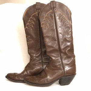 Tony Lama Vintage Leather Western Cowboy Brown Boots