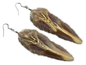 Natural Native American long boho feather earrings Natural Native American long boho feather earrings