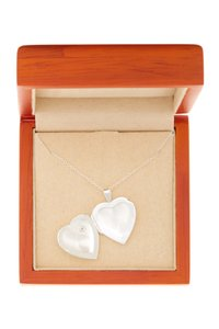 Argento Vivo Sterling Silver Heart Locket with CZ Chip Necklace