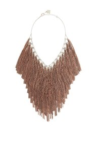 BCBGMAXAZRIA BCBG Lattice Woven Chain Fringe Necklace Copper
