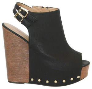 Chinese Laundry Gold Hardware Black Wedges
