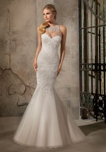 Mori Lee 2723 Artistic Embroidered Appliques On Net With Crystal Beading Wedding Dress