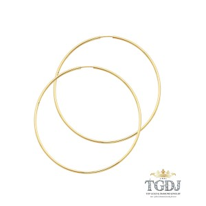 Top Gold & Diamond Jewelry Hoop Earrings, 14K Yellow Gold 1.5mm Hoop Earrings