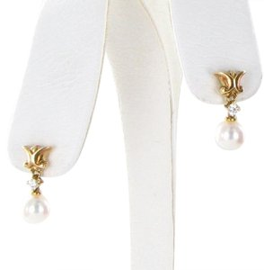 Mikimoto Earrings Classic Elegance 7mm Akoya White Pearls 0.03cts Diamonds 18k
