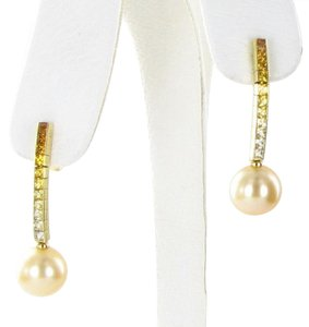 Mikimoto Earrings 10mm Golden South Sea Pearls 1.30cts Yellow Sapphires 18k YG