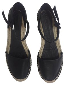 Zara Leather Espadrille Ankle Strap black Sandals