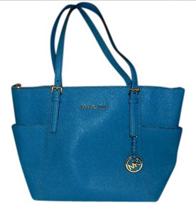 Michael Kors Saffiano Leather Gold Gold Hardware Top Zip Tote in Turquoise