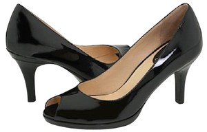 Cole Haan Black Patent Open Toe Pumps