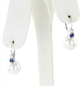 Mikimoto Earrings Classic South Sea 11mm White Pearls 0.09cts Diamonds 0.42cts