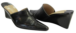 Franco Sarto Size 8.50 M Leather Good Condition Black Mules