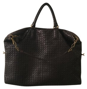Bottega Veneta Intreciatto Leather Brown Satchel in Chocolate Brown