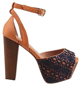 Jeffrey Campbell Crochet Sandals Sandals Orange and Navy Platforms