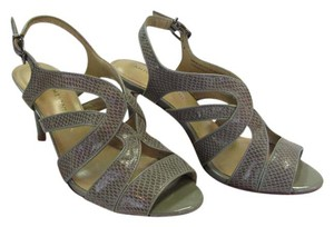 Antonio Melani New Reptile Design Leather Sock Leather Sole Excellent Condition Gray Sandals