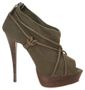 Steve Madden Peep Toe Open Toe Military Military Green Army Green Boots