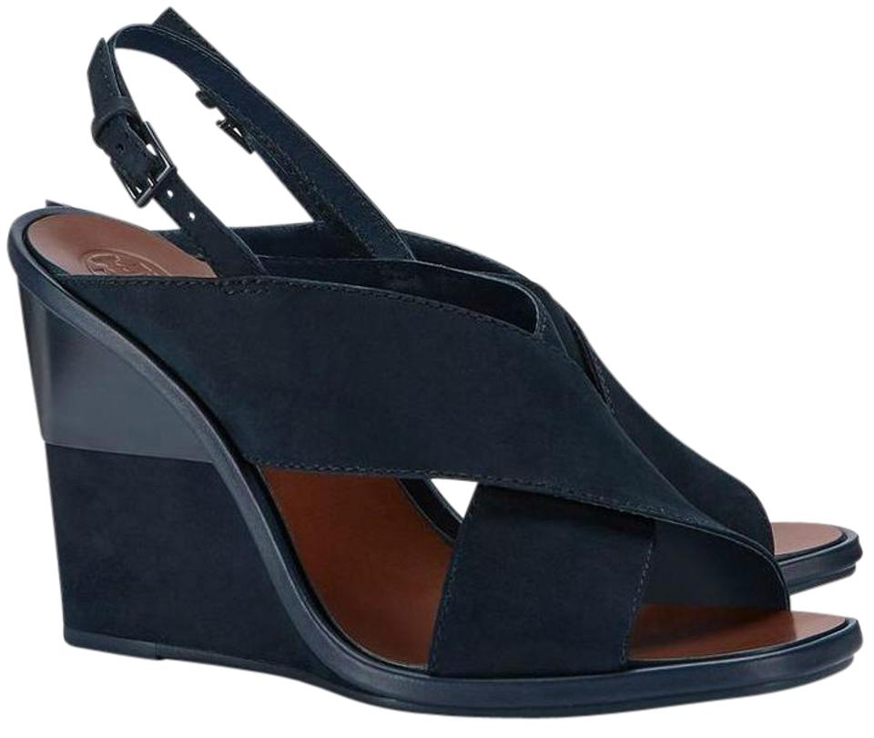 d2aee9b6c Tory Burch Royal Navy Gabrielle Suede Wedge Sandals Size US 8 ...