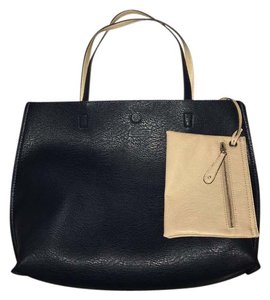 Street Level Faux Leather Reversible Tote in Navy Blue and Nude