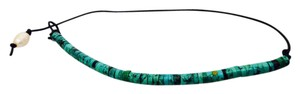 Other Turquoise Leather Choker with Pearl Fastener
