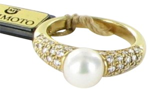 Mikimoto Ring Sz 6.25 Classic Elegance 7mm Pearl 0.57cts Diamonds 18k Y Gold