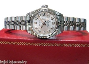 Rolex Ladies Rolex Oyster Perpetual Datejust Diamond Hour Markers Stainless Steel