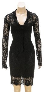 Dolce&Gabbana Dolce & Gabbana Black Lace Three Piece Jacket Dress Suit (Size 38)