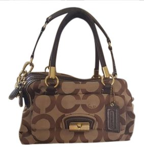 Coach Satchel in Brown & Sand