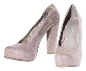 Candie's Chunky Heel Slip On Gray Pumps