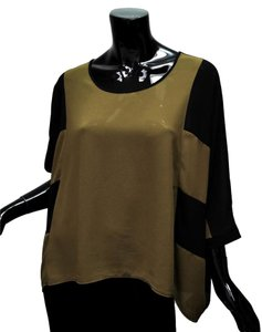Forever 21 Oversized Draping Kimono Color-blocking Georgette Top Olive Green